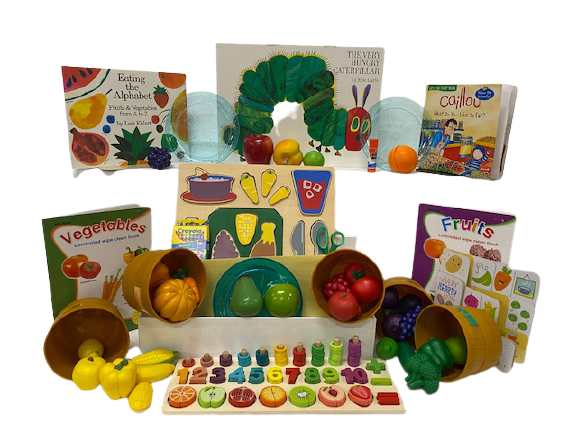 Literacy book bin. Fruits and Vegetables Bin