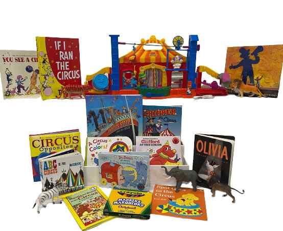 Literacy book bin. Circus bin